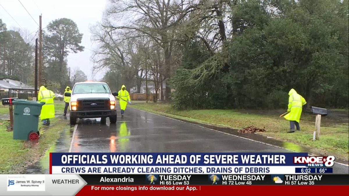 Crews began clearing ditches and drains on Monday. (Source: KNOE)
