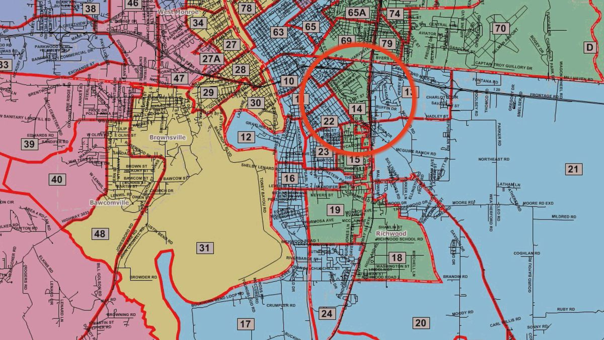 Before Ouachita Parish redrew district lines in 2010, Anna Reed's home on Medra Drive rested in District F. The former interim juror says she had no clue her home was shifted to District D until this week. (Source: Ouachita Parish Police Jury)
