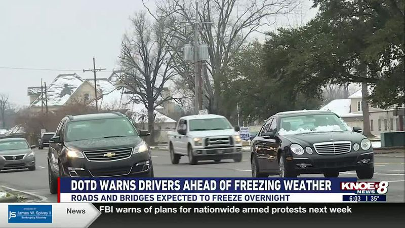 DOTD WARNS DRIVERS AHEAD OF FREEZING WEATHER