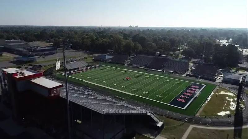 A bird's eye view of Rebel Stadium in West Monroe, La.