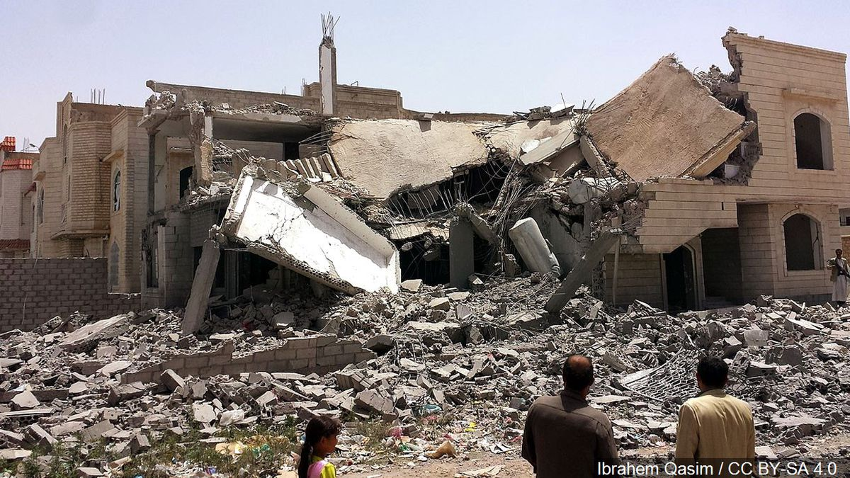 A destroyed house in the south of Sana'a, Yemen.