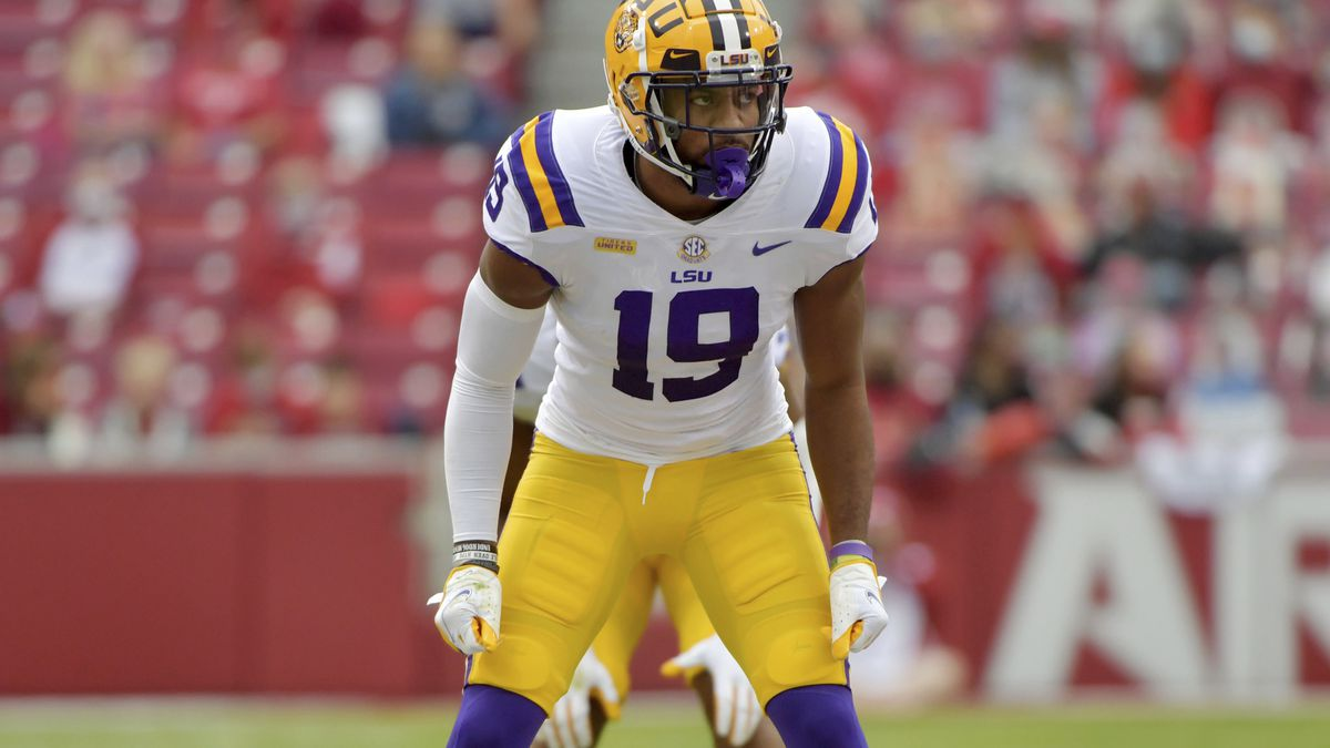 LSU defensive back Jabril Cox (19) against Arkansas during an NCAA college football game...