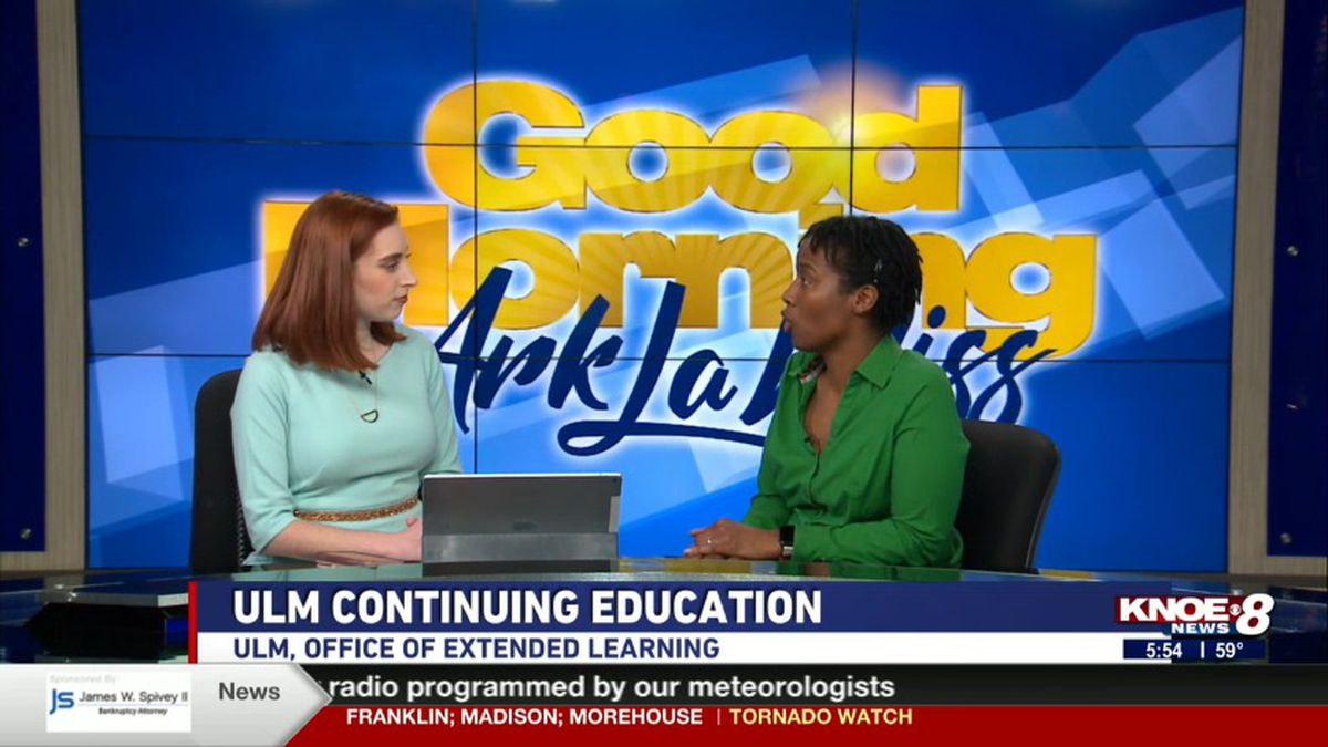 Ida Wilson with Jessica Torricelli discussing the ULM's Continuing Education program. (Source: KNOE)